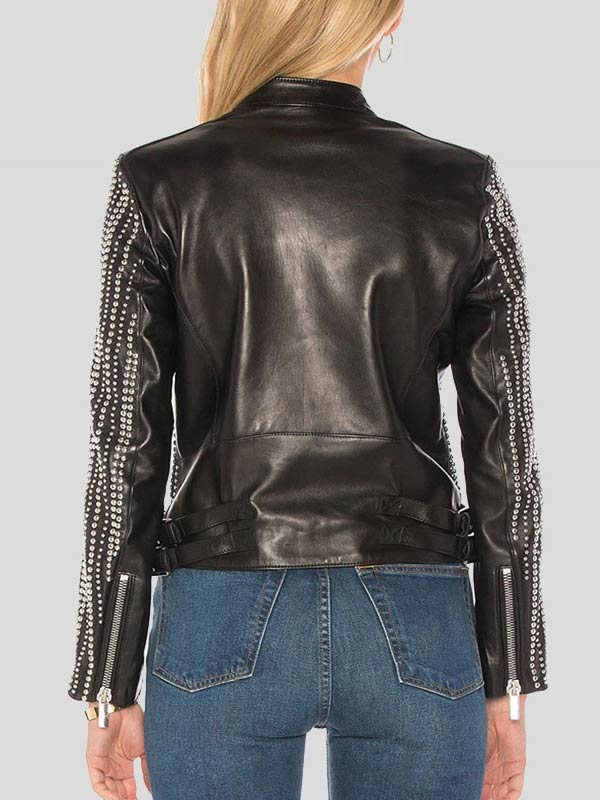 Womens Fashion Wear Black Leather Studded Jacket