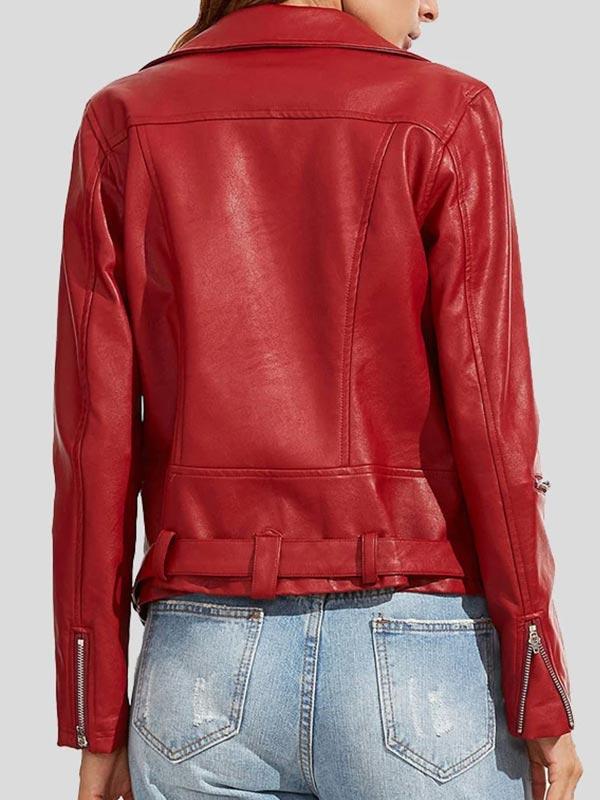 Womens Fashion Wear Red Biker Leather Jacket
