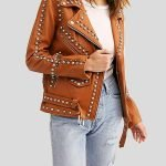 Womens Moto Biker Brown Studded Leather Jacket