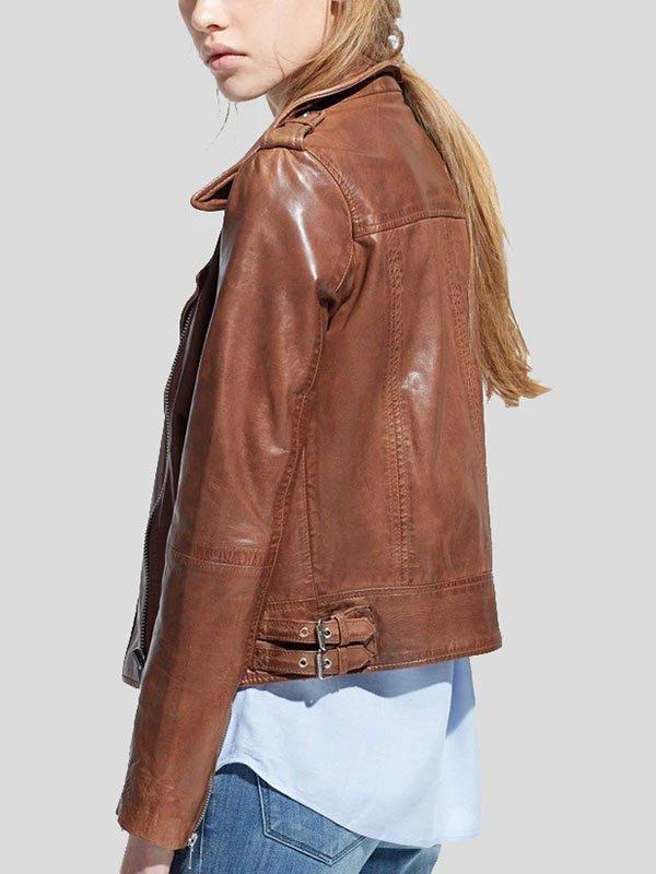Womens Moto Racer Brown Biker Leather Jacket