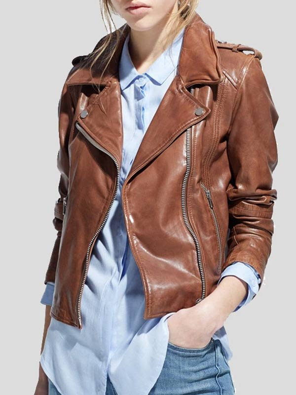 Womens Motorcycle Rider Brown Leather Jacket