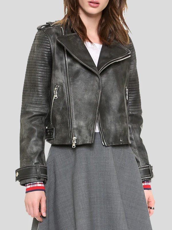 Womens Quilted Black Leather Biker Jacket