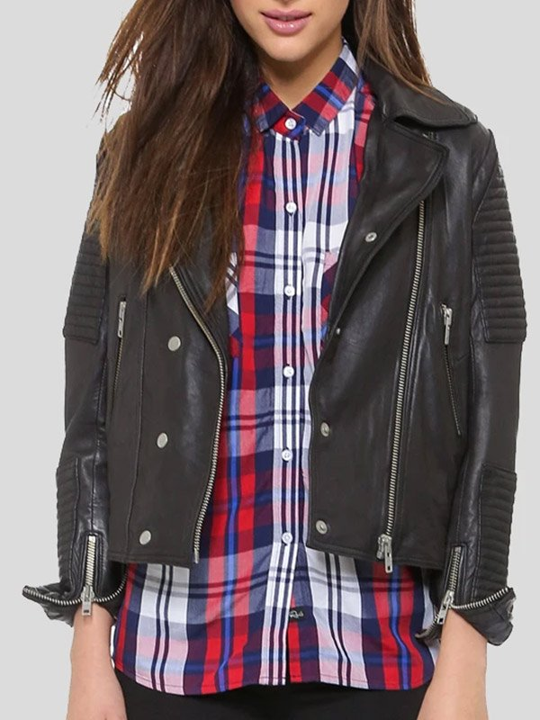 Womens Quilted Leather Motorcycle Jacket