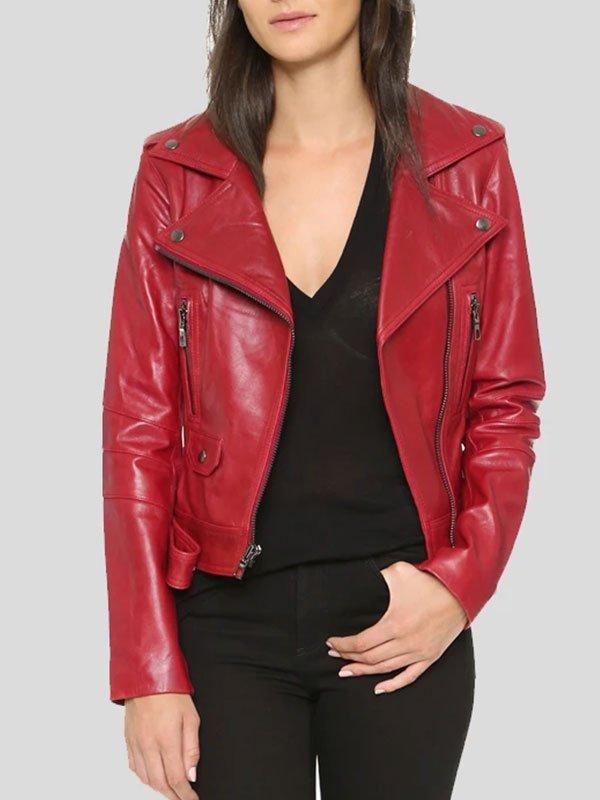 Womens Red Leather Biker Jacket