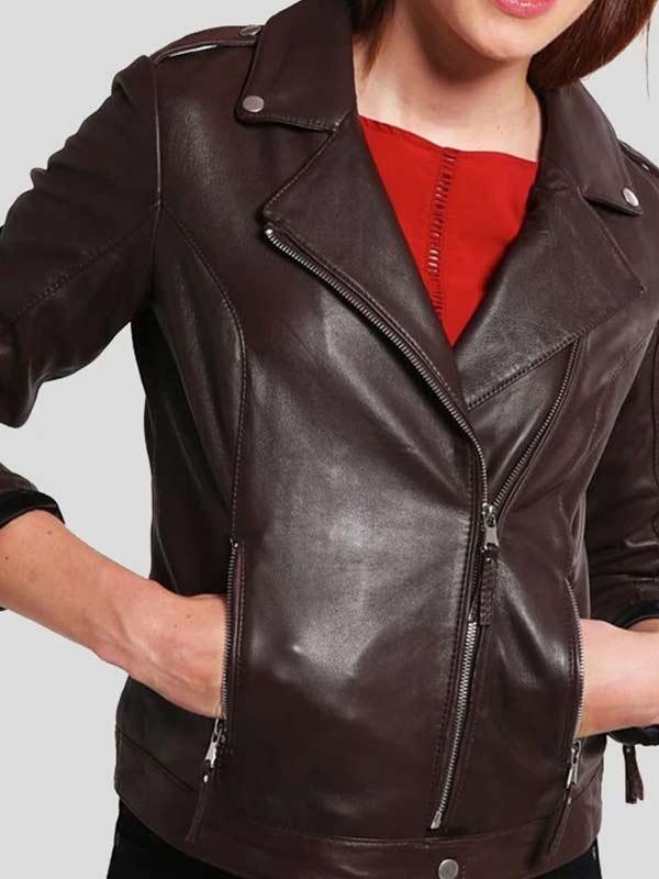 Womens Slim Fit Brown Leather Biker Jacket