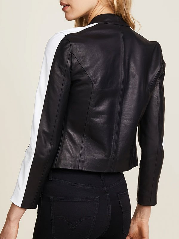 Womens Snap Tab Collar Black Leather Jacket With White Stripe