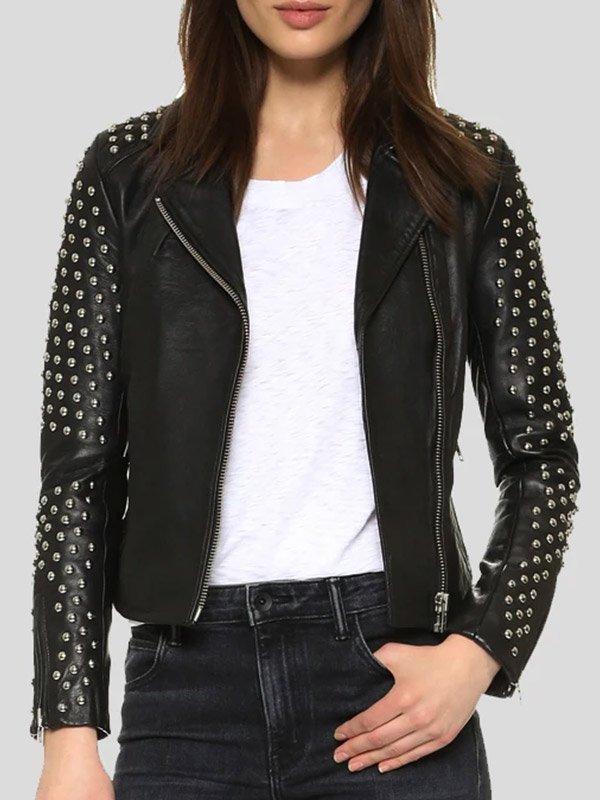 Womens Studded Black Leather Motorcycle Jacket