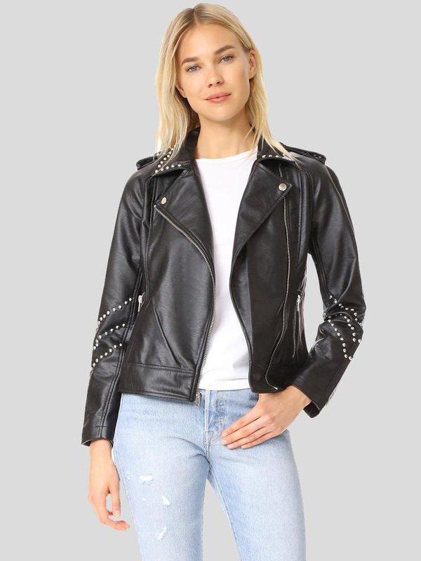 Women's Studded Leather Motorcycle Jacket
