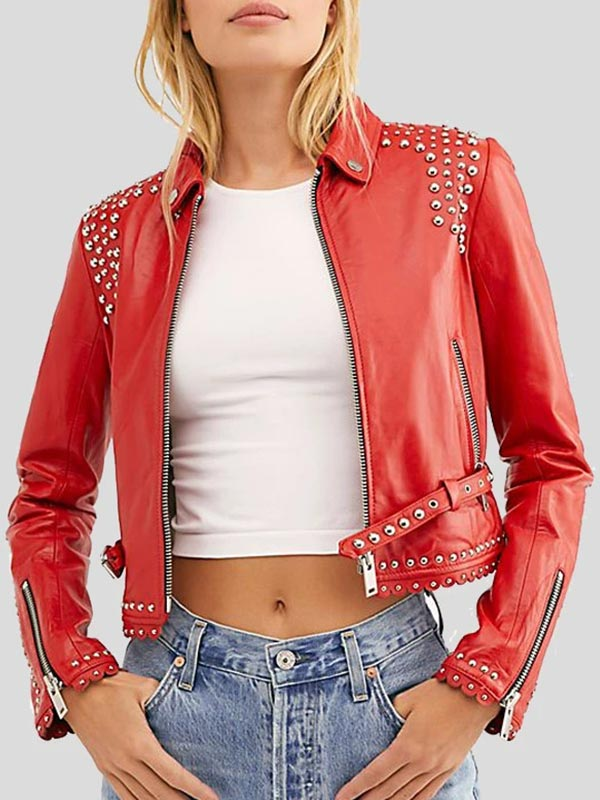 Womens Suedded Red Cropped LeatherJacket