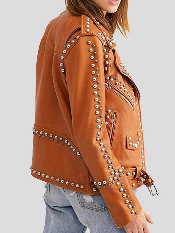 Womens Tan Brown Leather Silver Studded Jacket