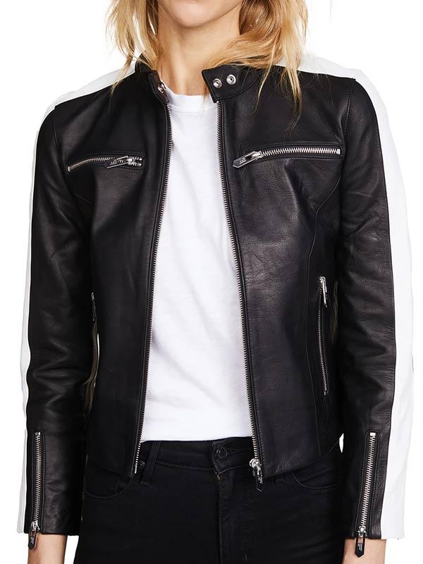 Womens Zipper Pockets Black Leather Jacket