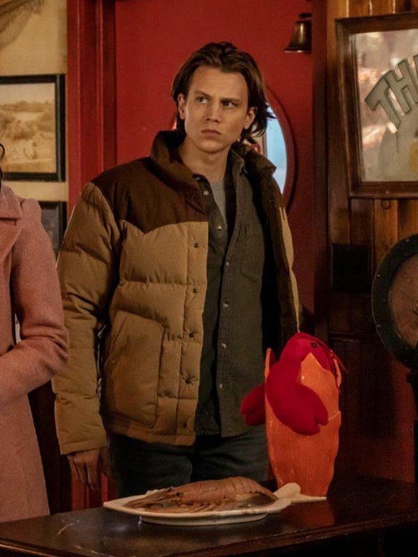 Alex Saxon Tv Series Nancy Drew Ace Puffer Brown Jacket