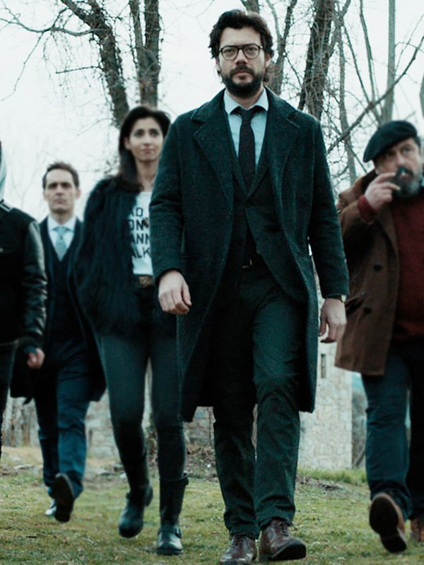 Álvaro Morte Money Heist El Profesor Grey Wool Trench Coat