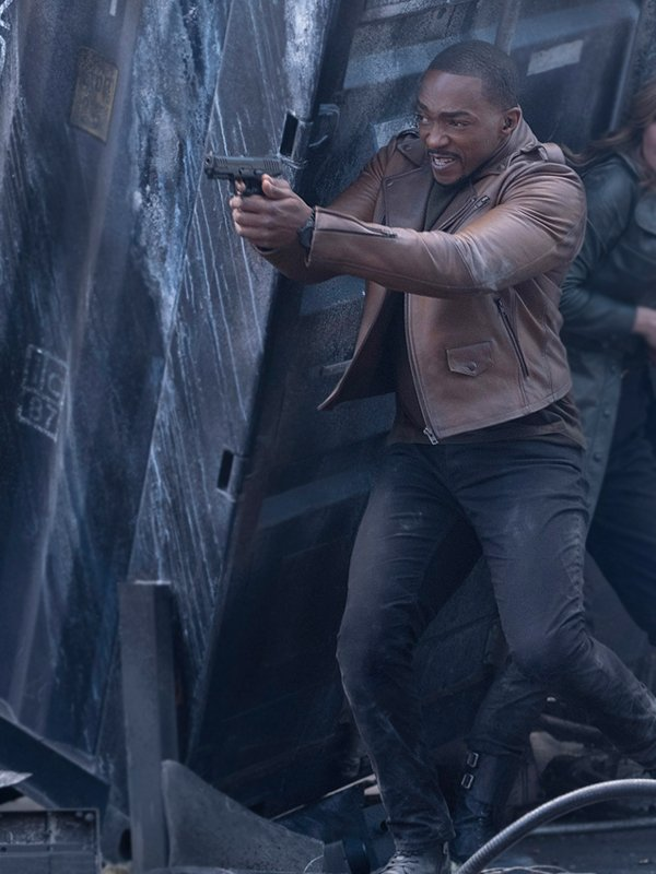 Anthony Mackie The Falcon & the Winter Soldier Sam Wilson Brown Leather Biker Jacket