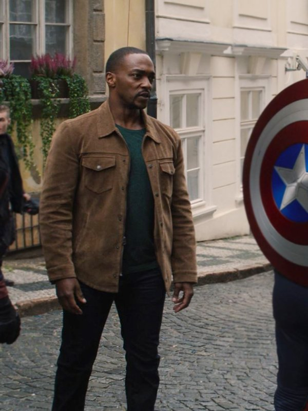 Anthony Mackie The Falcon & the Winter Soldier Sam Wilson Brown Suede Jacket