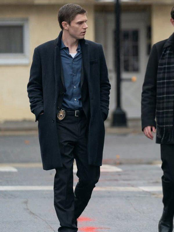 Detective Colin Zabel Tv Series Mare of Easttown Evan Peters Black Wool Trench Coat