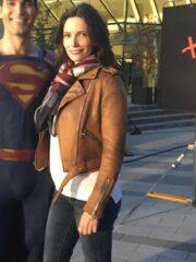 Lois Lane Tv Series Superman and Lois Elizabeth Tulloch Brown Leather Biker Jacket