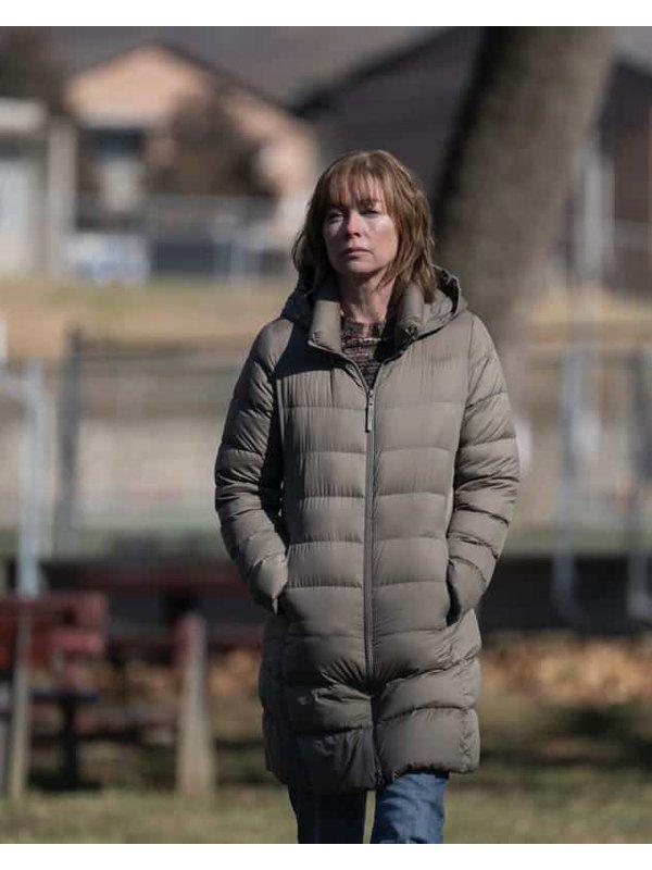 Lori Ross Mare of Easttown Julianne Nicholson Grey Puffer Coat