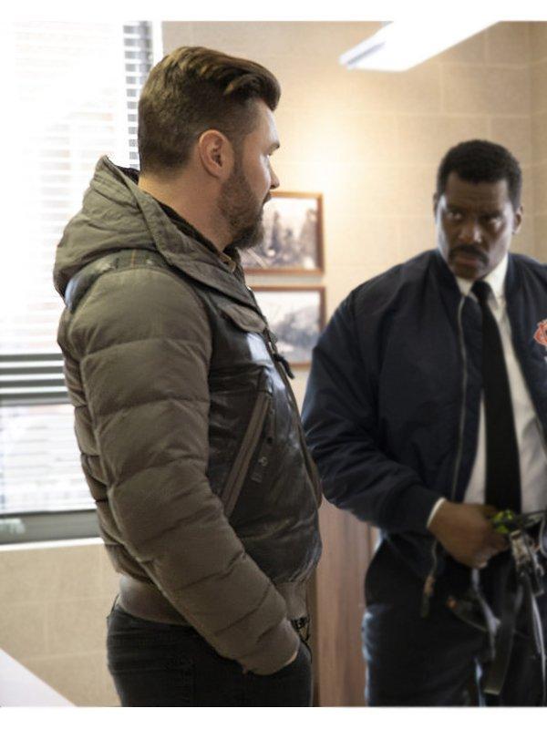 Patrick John Flueger Chicago P.D. Adam Ruzek Hooded Leather Bomber Jacket