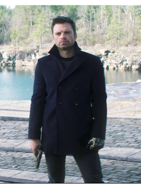 Sebastian Stan The Falcon and the Winter Soldier Bucky Barnes Black Peacoat
