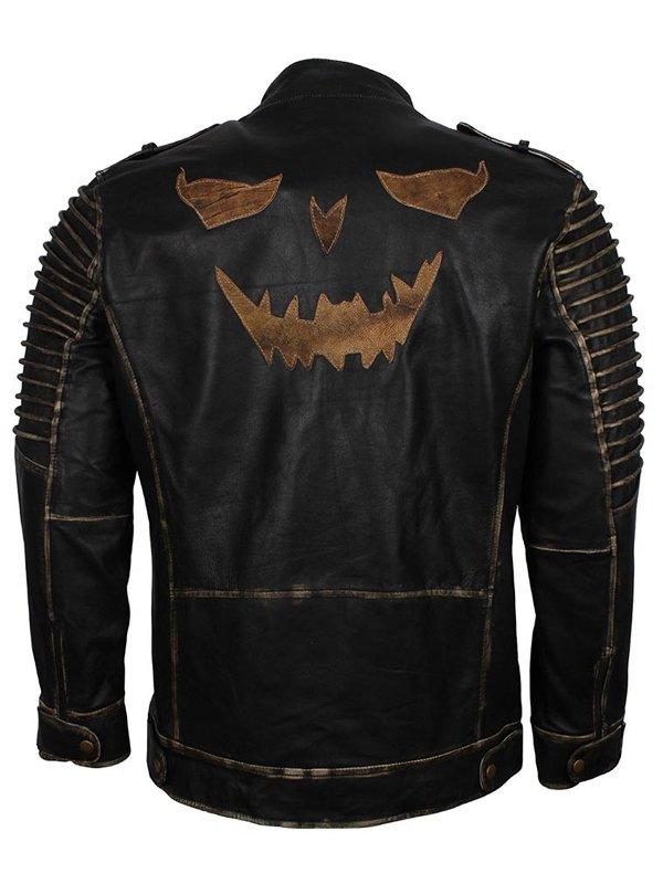 Suicide Squad Joker Black Café Racer Biker Leather Jacket