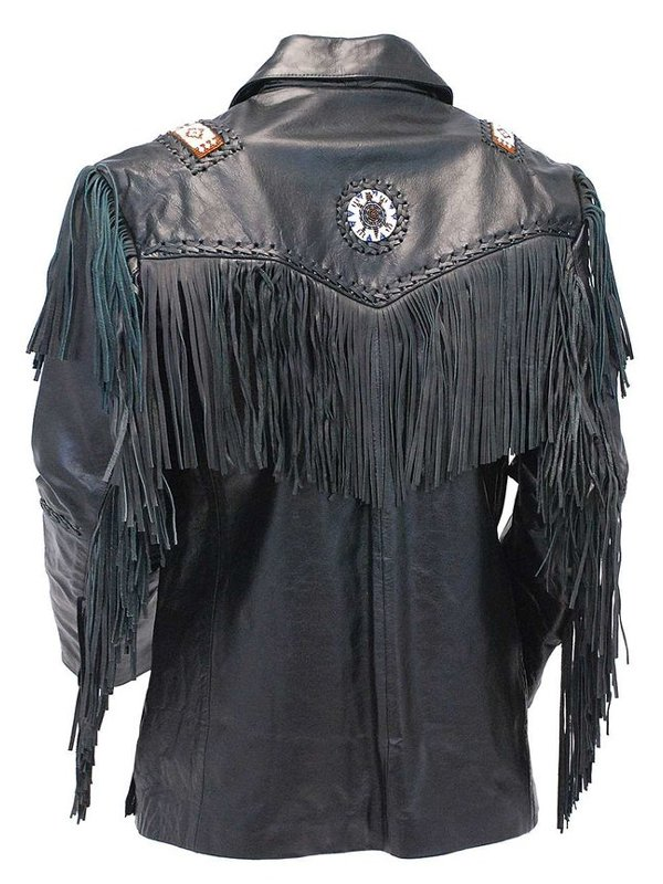 Tribal Bead Black Fringe Leather Jacket For Mens