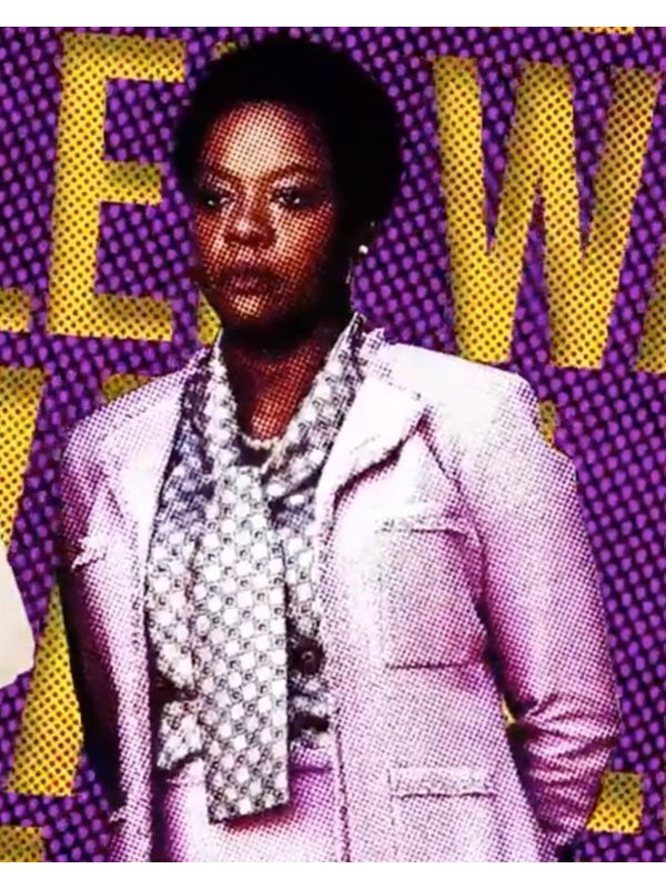 Viola Davis The Suicide Squad Amanda Waller Pink Wool Blazer