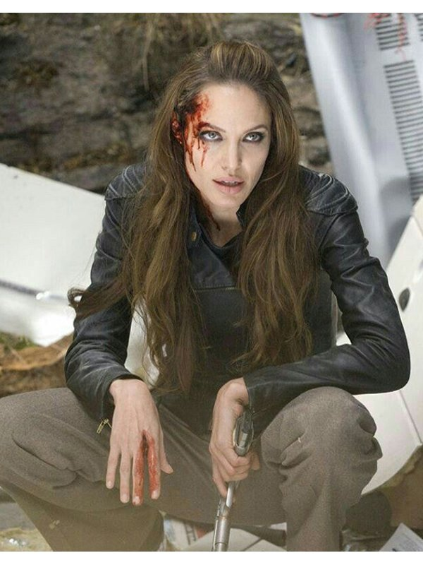 Angelina Jolie The Eternals 2021 Thena Black Leather Biker Jacket