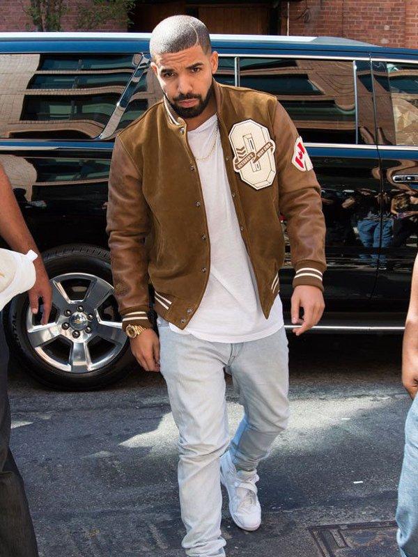 Drake Suede Leather Brown Varsity Bomber Jacket