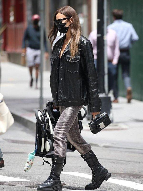 Irina Shayk Leather Coat