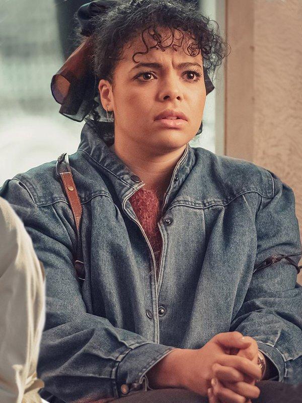 Jill Baxter Tv Series It's a Sin 2021 Lydia West Blue Denim Jacket
