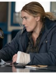 Kate Winslet Tv Series Mare of Easttown Detective Mare Sheehan Blue Hooded Jacket