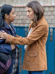 Killing Eve Camille Cottin Studded Brown Suede Leather Jacket