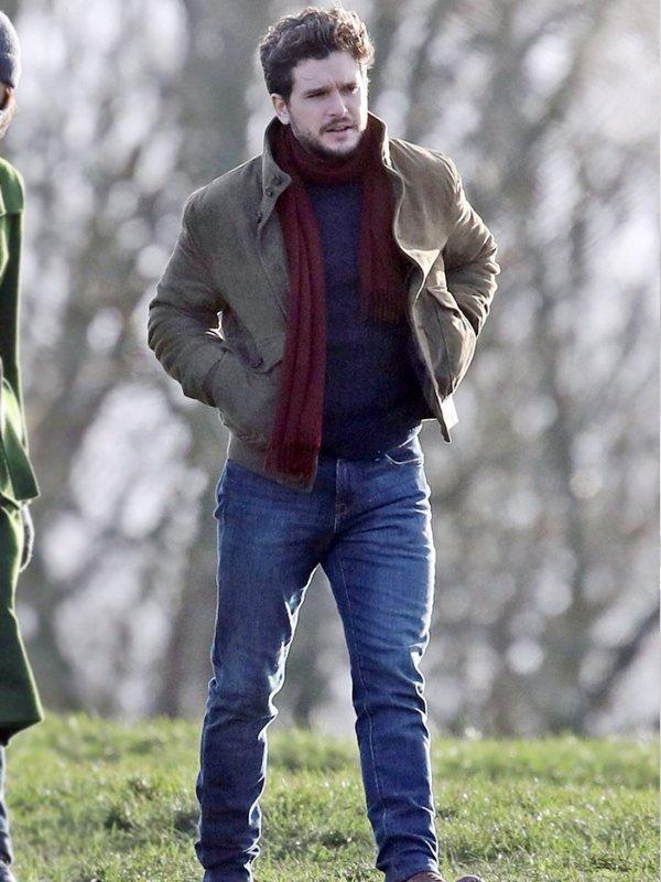 Kit Harington Eternals Dane Whitman Brown Suede Leather Jacket