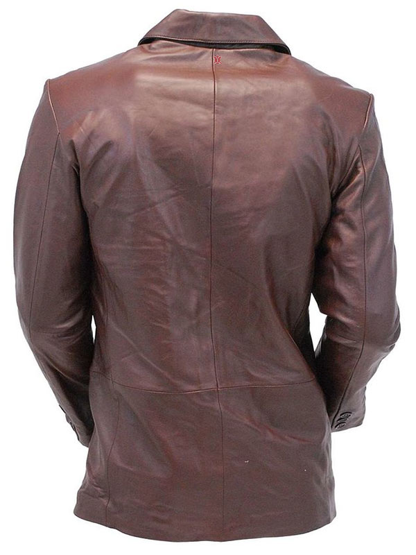 Mens Casual Two Button Chocolate Brown Leather Blazer