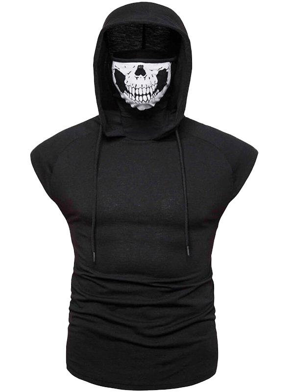 Mens Fashion Black Sleeveless Hoodie