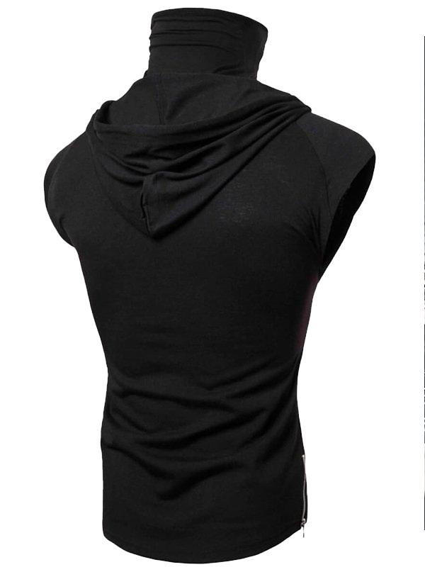 Mens Fashion Casual Black Sleeveless Hoodie With Drawstring