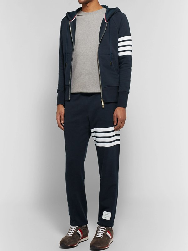 Mens Slim Fit Striped Hooded Tracksuit