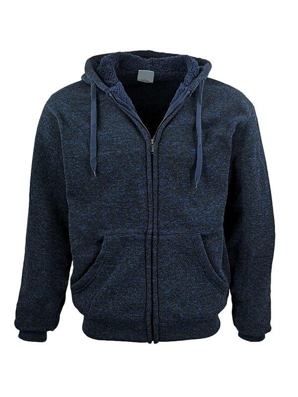 Mens Winter Zip Up Blue Hoodie