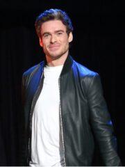 Richard Madden The Eternals Premier Black Ikaris Leather Bomber Jacket