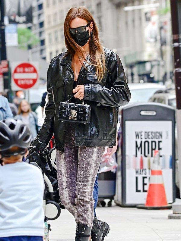 Russian Model Irina Shayk Black Leather Coat