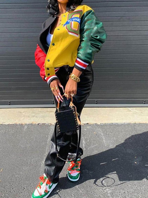Streetwear Multicolor Patchwork Leather Bomber Jacket