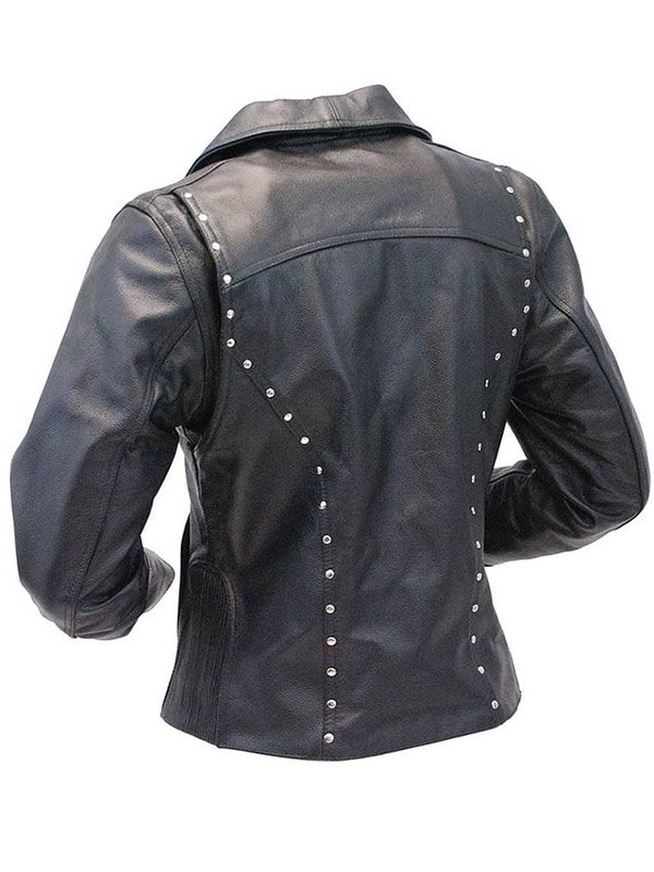 Studded Black Motorcycle Leather Jacket For Womens