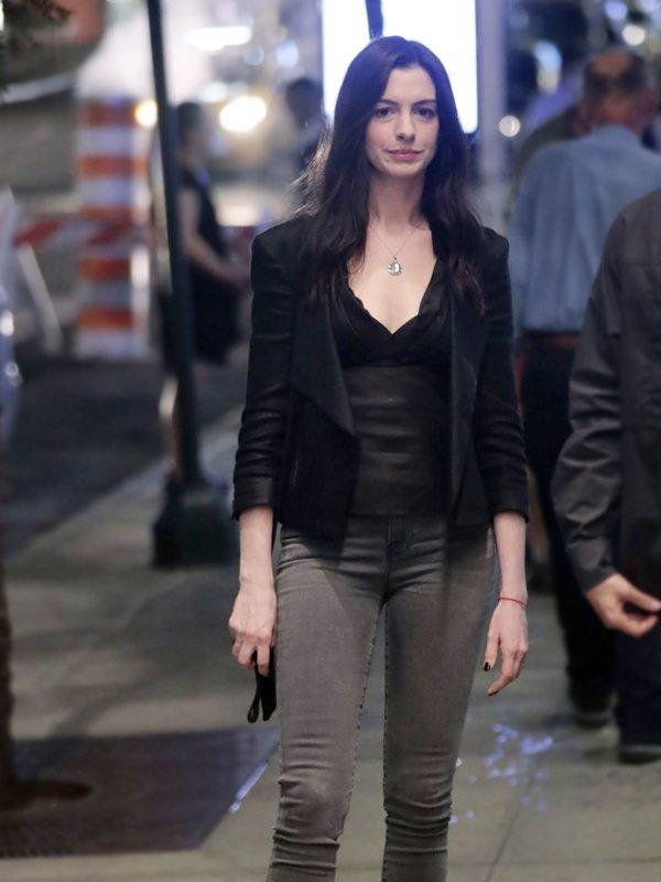Tv Series Wecrashed Anne Hathaway Black Leather Jacket
