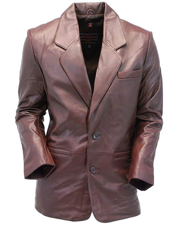 Two Button Brown Leather Blazer