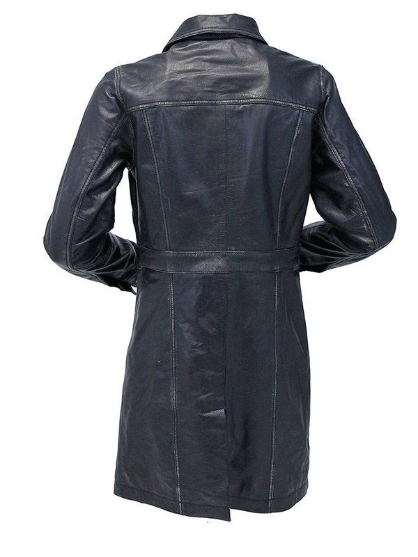 Vintage Black Mid Length Leather Coat For Womens