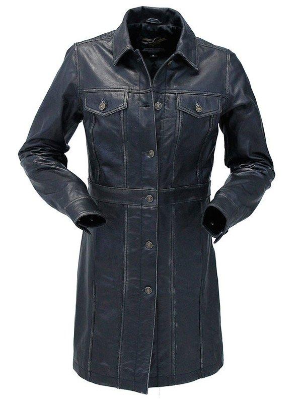 Womens Black Vintage Leather Coat
