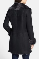 Womens Mid Length Suede Leather Shearling Fur Coat