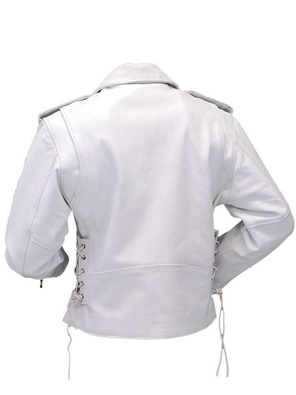 Womens Racer White Leather Motorcycle Jacket
