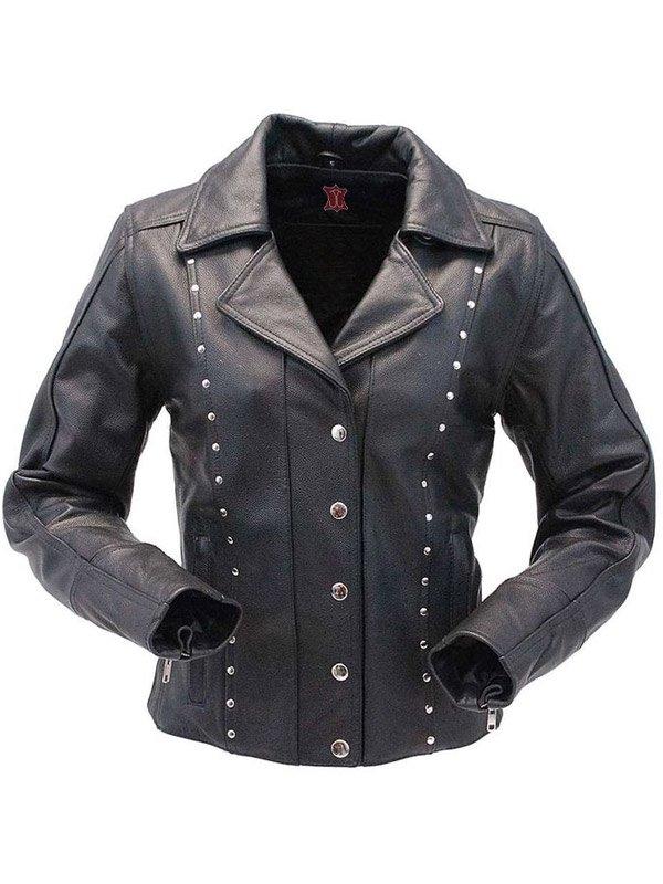 Womens Studded Leather Biker Jacket